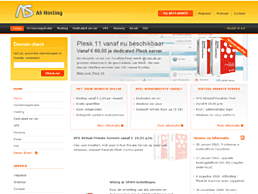 Screenshot van website AS Hosting
