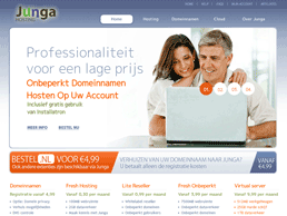 Screenshot van website Junga Hosting