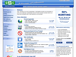 Screenshot van website QDC Internetservices