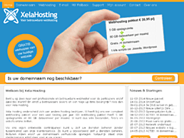 Screenshot van website Xela Hosting